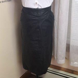 Vintage 1980s Shelley Impression Leather skirt